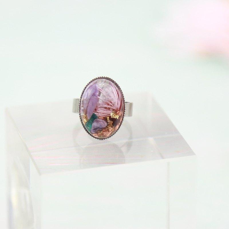 奧剛能量戒 (13mmx18mm) -紫龍晶,鉻雲母與白水晶