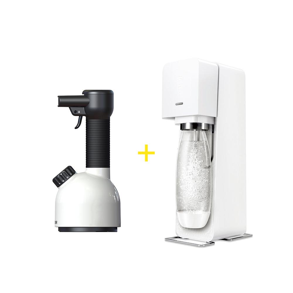 【居家抗敏殺菌】LAURASTAR IGGI手持蒸汽掛燙機(白)+Sodastream SOURCE 氣泡水機 (白)