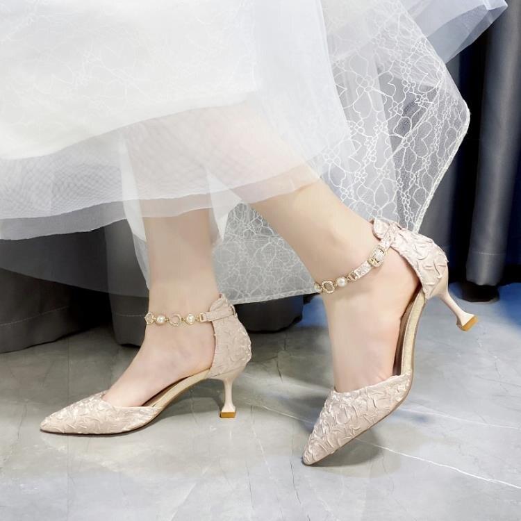 細跟高跟鞋 氣質涼鞋女2021年包頭新款夏季水鉆一字式扣帶尖頭高跟鞋細跟女鞋 果果輕時尚