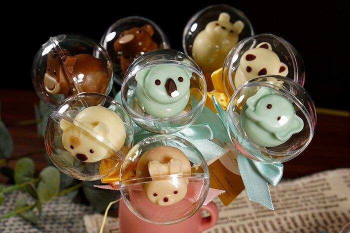 【糖加一烘焙坊】可愛動物。巧克力棒 /兒童/生日派對/交換/送禮/造型/棒棒糖/祝福/小禮物/糖+1