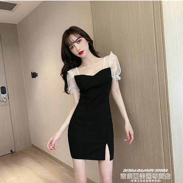 小禮服 氣質2021新款女裝修身顯瘦包臀短裙短袖法式復古赫本連身裙禮服裙 夏季新品