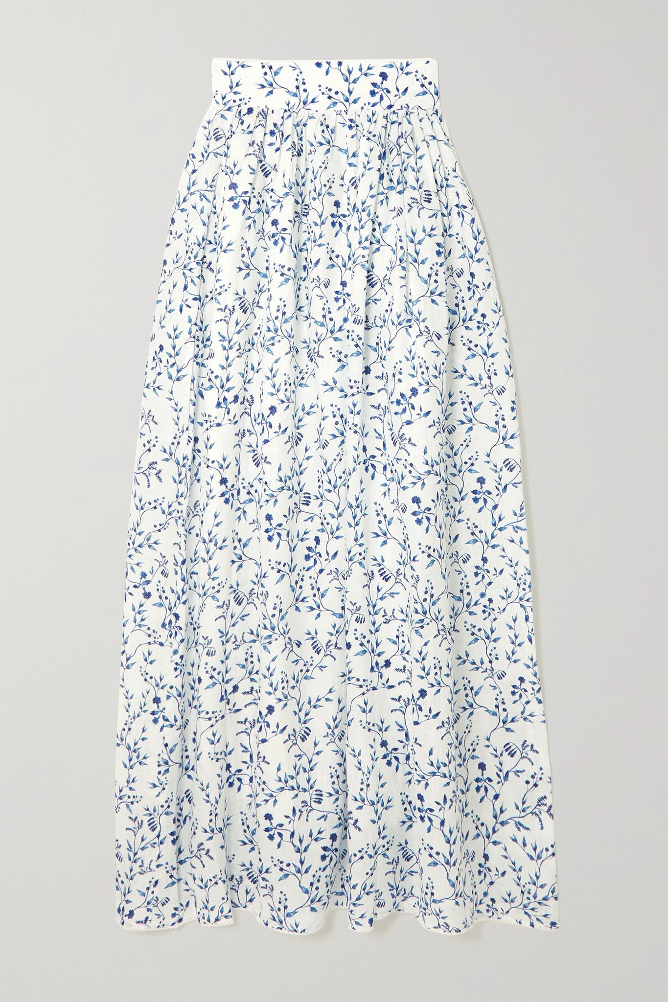 AGUA BY AGUA BENDITA - Printed Cotton Maxi Skirt - Blue - small