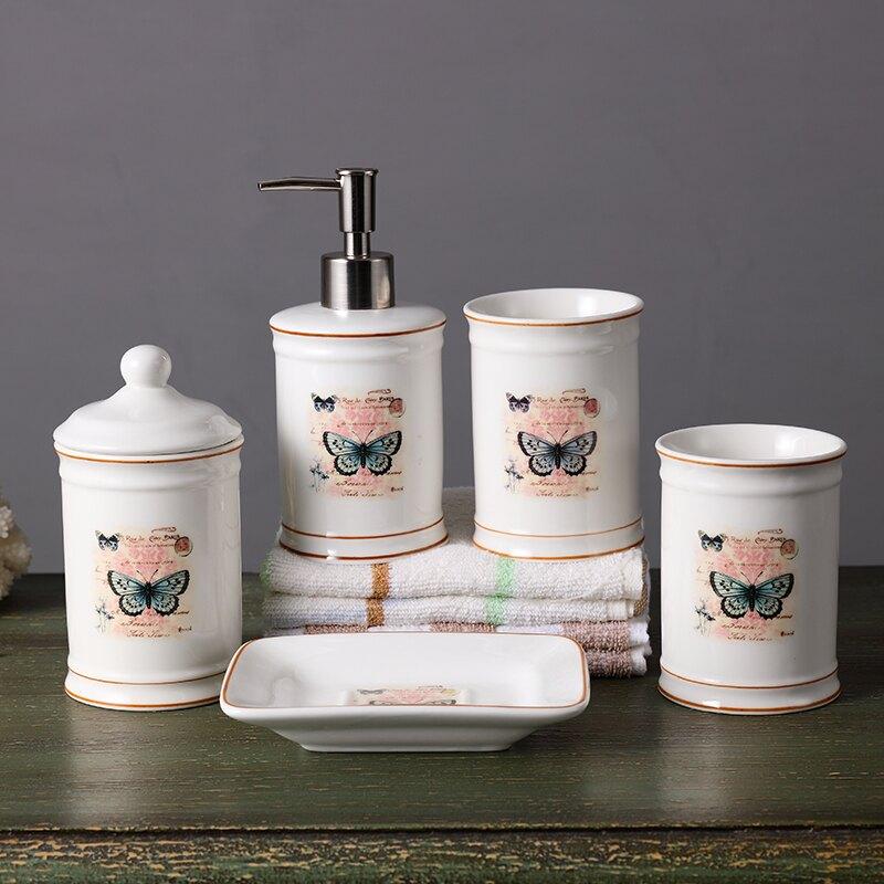 美式田園陶瓷衛浴五件套創意浴室用品衛生間牙具漱口杯洗漱杯套裝