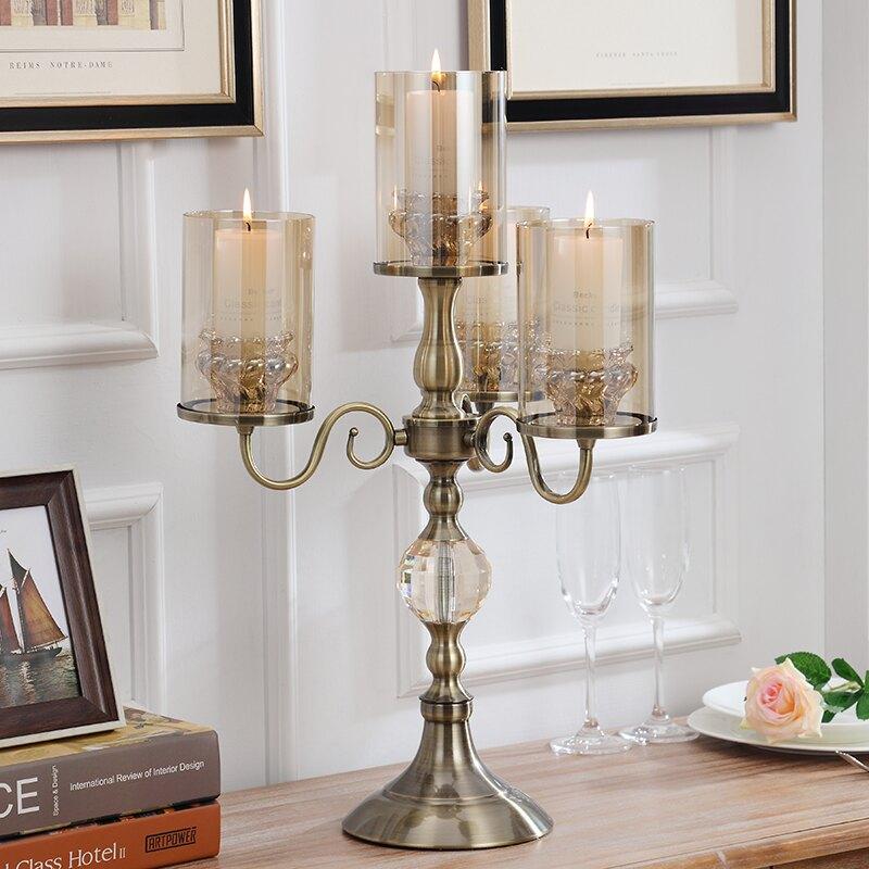 輕奢美式燭臺擺件樣板房軟裝飾品客廳歐式燭光晚餐水晶玻璃蠟燭臺