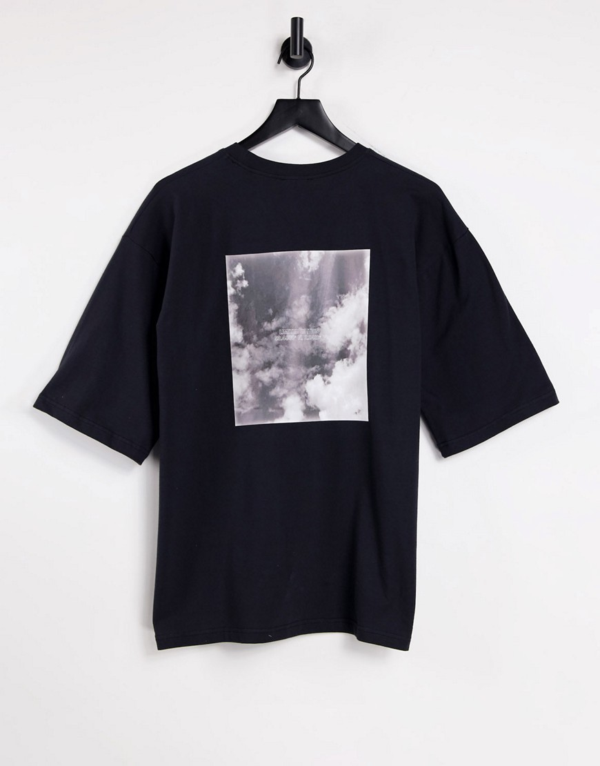 Public Desire oversized graphic tee in black-Grey
