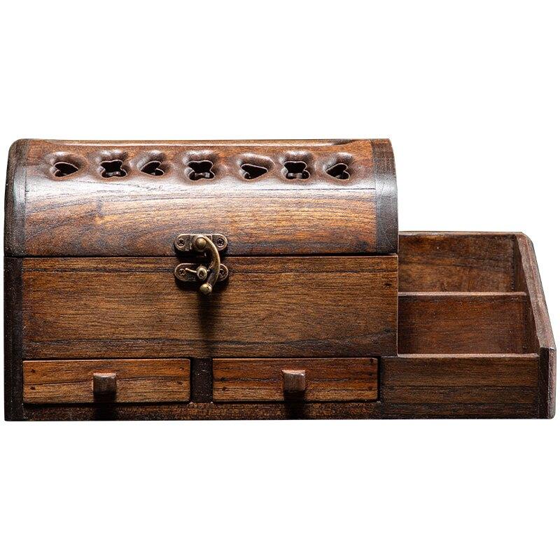 異麗柚木紙巾盒客廳復古木質紙巾盒創意多功能家用茶幾收納抽紙盒