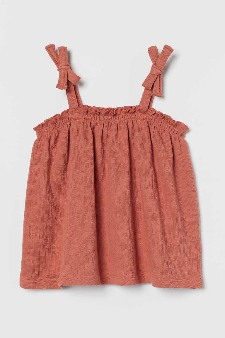 H & M - 縮褶上衣 - 橙色