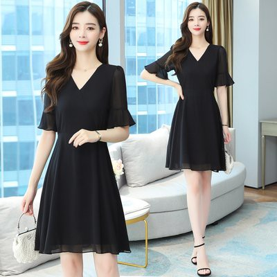 洋裝 裙子實拍S-2XL雪紡連衣裙女簡約修身顯瘦氣質裙子復古赫本小黑裙T105.8171愛尚依人