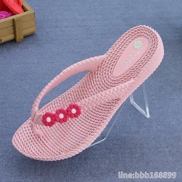 拖鞋 越南乳膠人字拖女款溫突坡跟沙灘鞋麥穗花朵夏季休閒涼鞋進口拖鞋 摩可美家