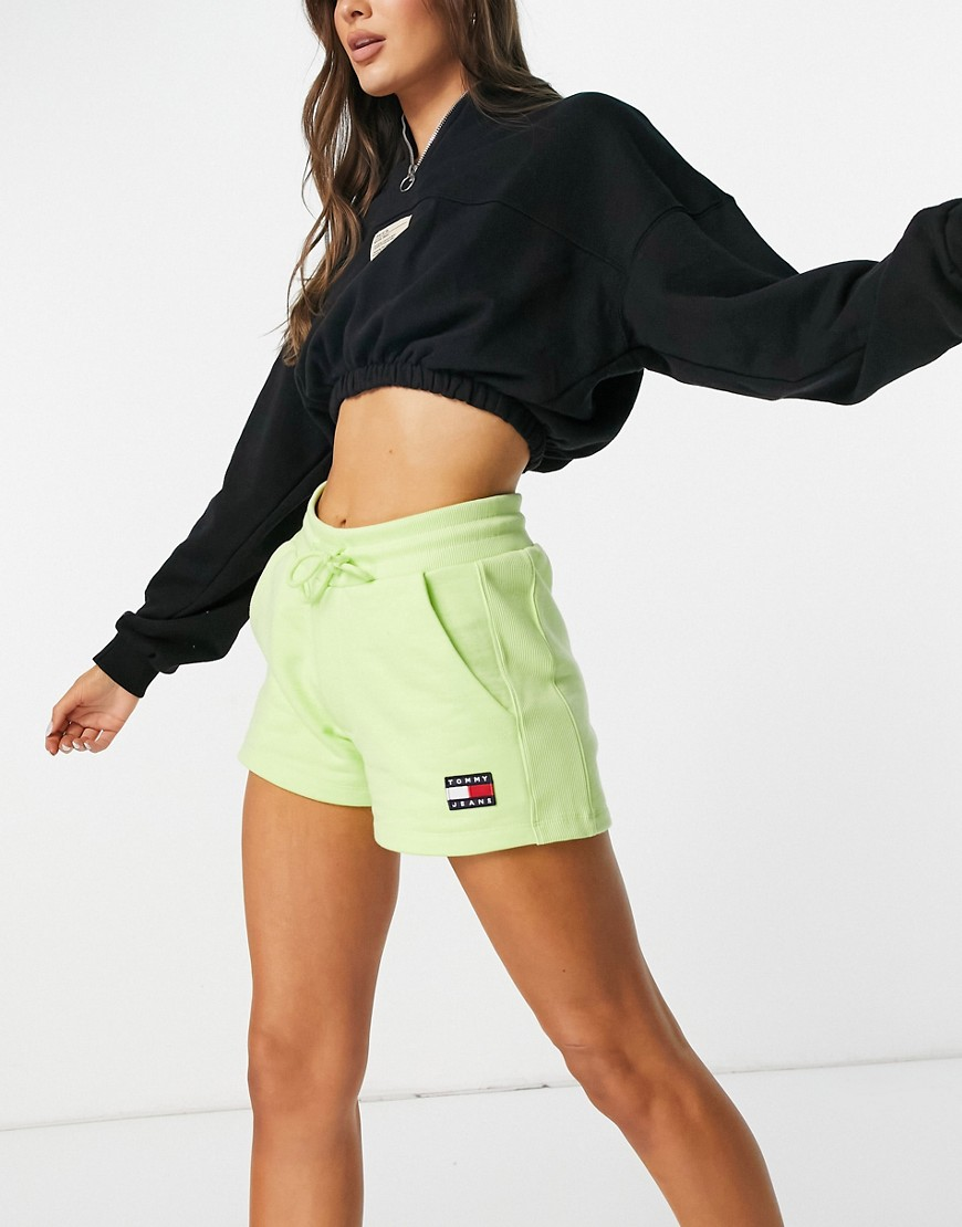 Tommy Jeans jersey logo short in lime green