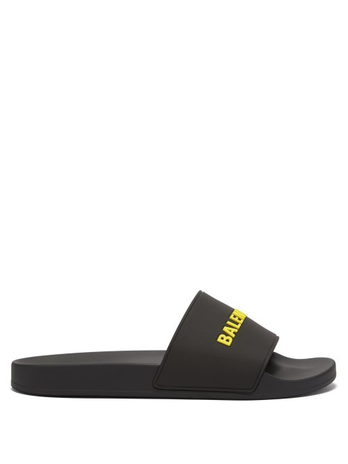 Balenciaga - Logo-embossed Rubber Slides - Mens - Black Yellow