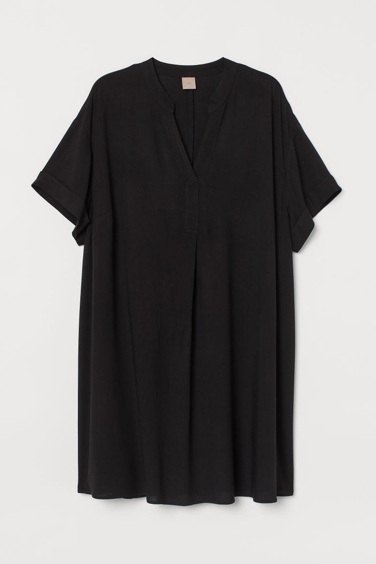 H & M - H & M+ V領洋裝 - 黑色
