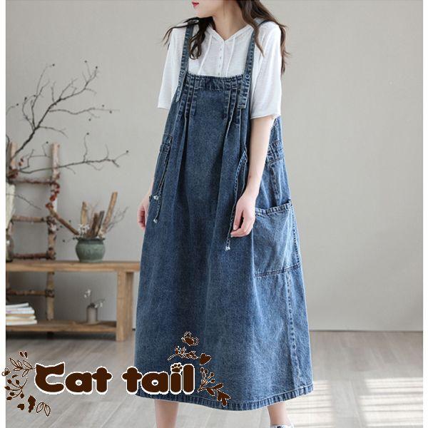 《貓尾巴》DY-01387 韓版牛仔背帶收腰無袖連身裙(森林系 日系 棉麻 文青 清新)
