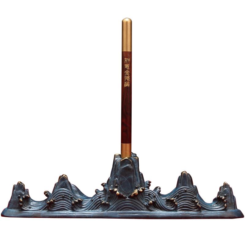 《定海神針》全銅筆架套裝擺件 齊天大聖金箍棒裝飾品JSY1 愛尚優品