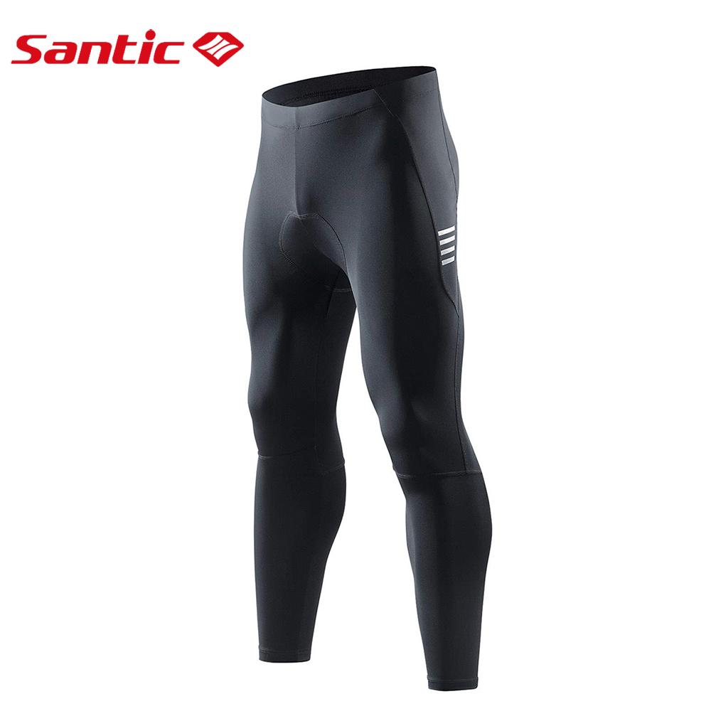Santic男士自行車騎行褲4D填充壓縮長騎自行車緊身褲冬季運動反光綁腿山地車長褲