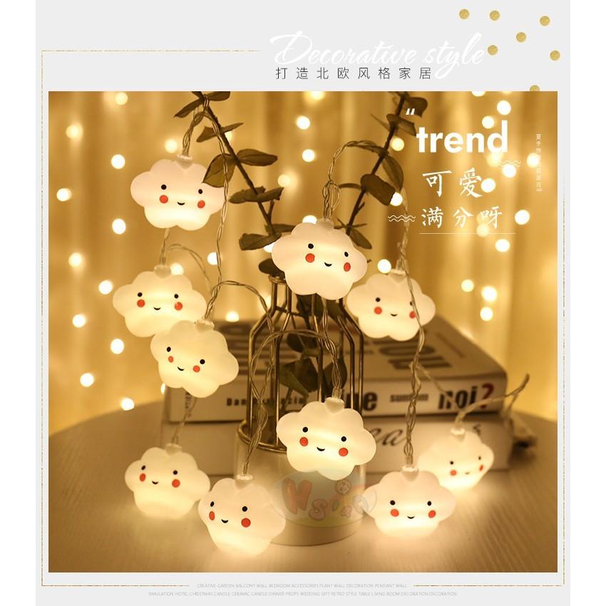 小築貓生活led創意新款雲朵 星星微笑雲朵燈.造型電池燈串耶誕節日慶典裝飾求婚婚禮布置生日宴會房