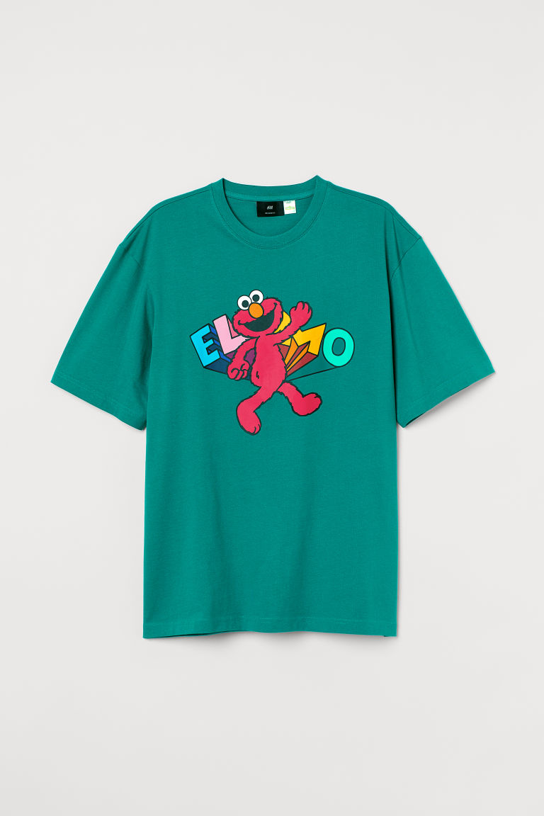 H & M - 休閒剪裁T恤 - 綠色