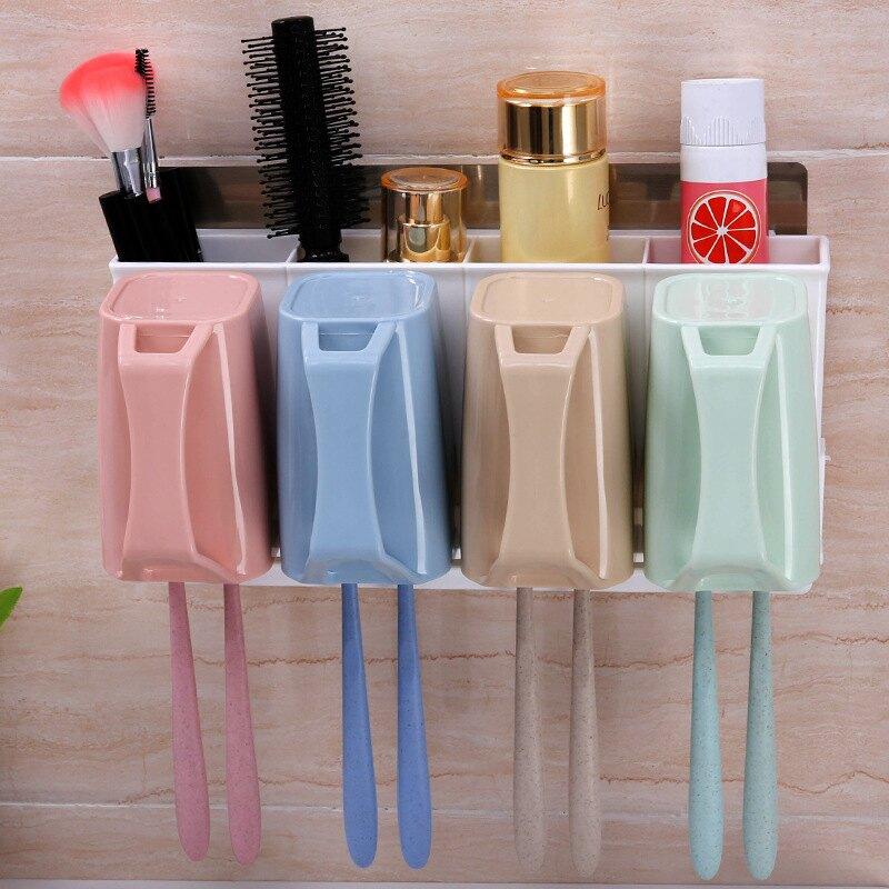 雙慶家居吸壁式牙刷架四口洗漱套裝漱口杯牙膏牙刷收納置物架5174【艾莎嚴選】