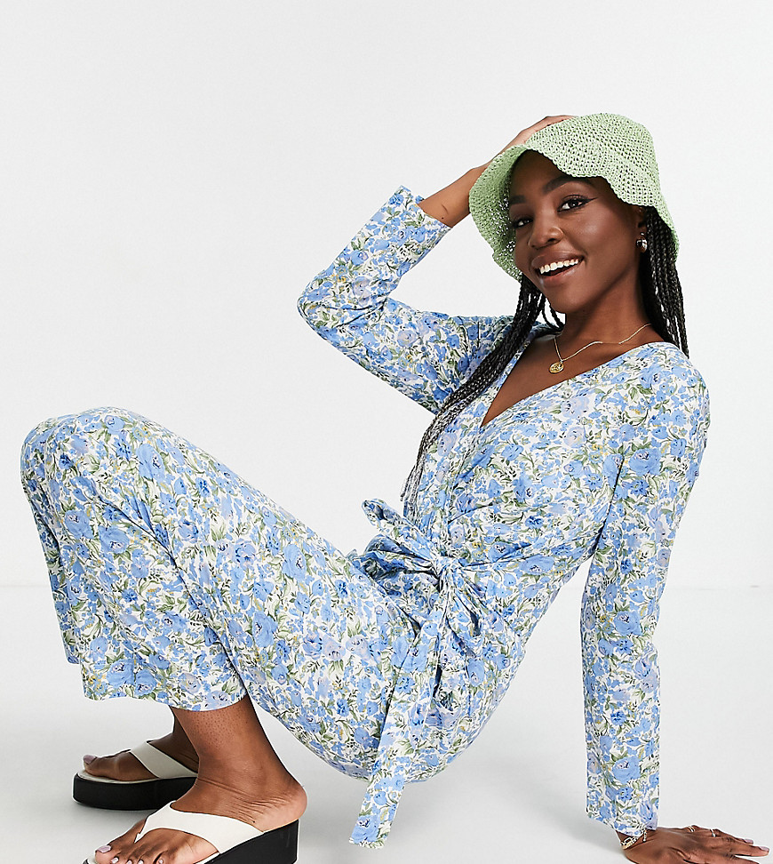 Y.A.S Tall wrap floral jumpsuit in blue