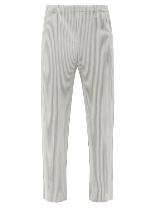 Homme Plissé Issey Miyake - Technical-pleated Knit Trousers - Mens - Light Grey