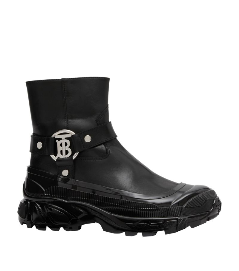 Burberry Leather Tb Monogram Buckle Boots