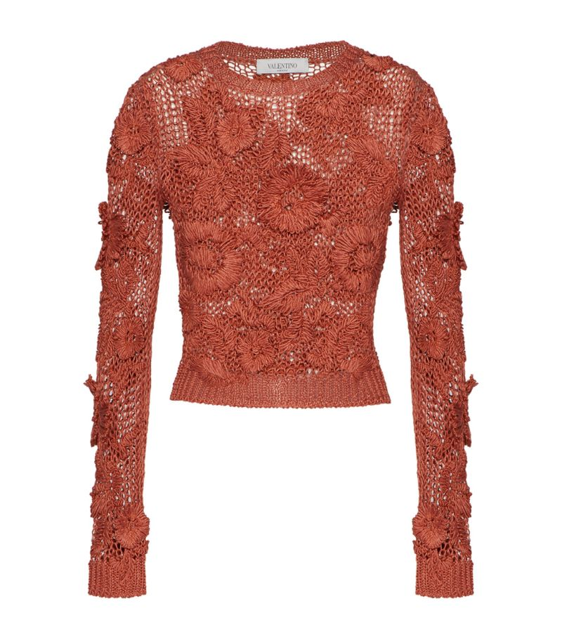 Valentino Linen Embroidered Sweater