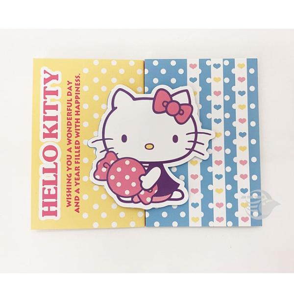 三麗鷗 SR-D137 HELLO KITTY 生日卡 造型 橫式 卡片【金玉堂文具】