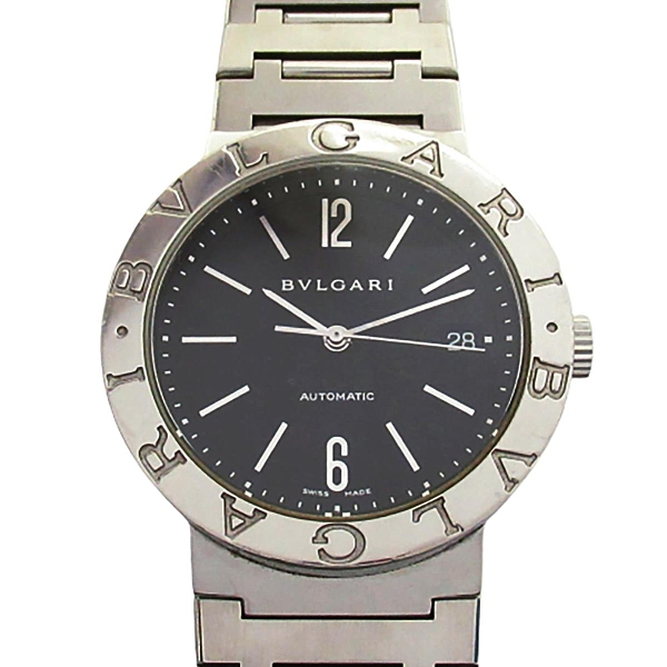 BVLGARI 寶格麗 BVLGARI BVLGARI 黑色面盤不銹鋼腕錶 BB38SSD【BRAND OFF】