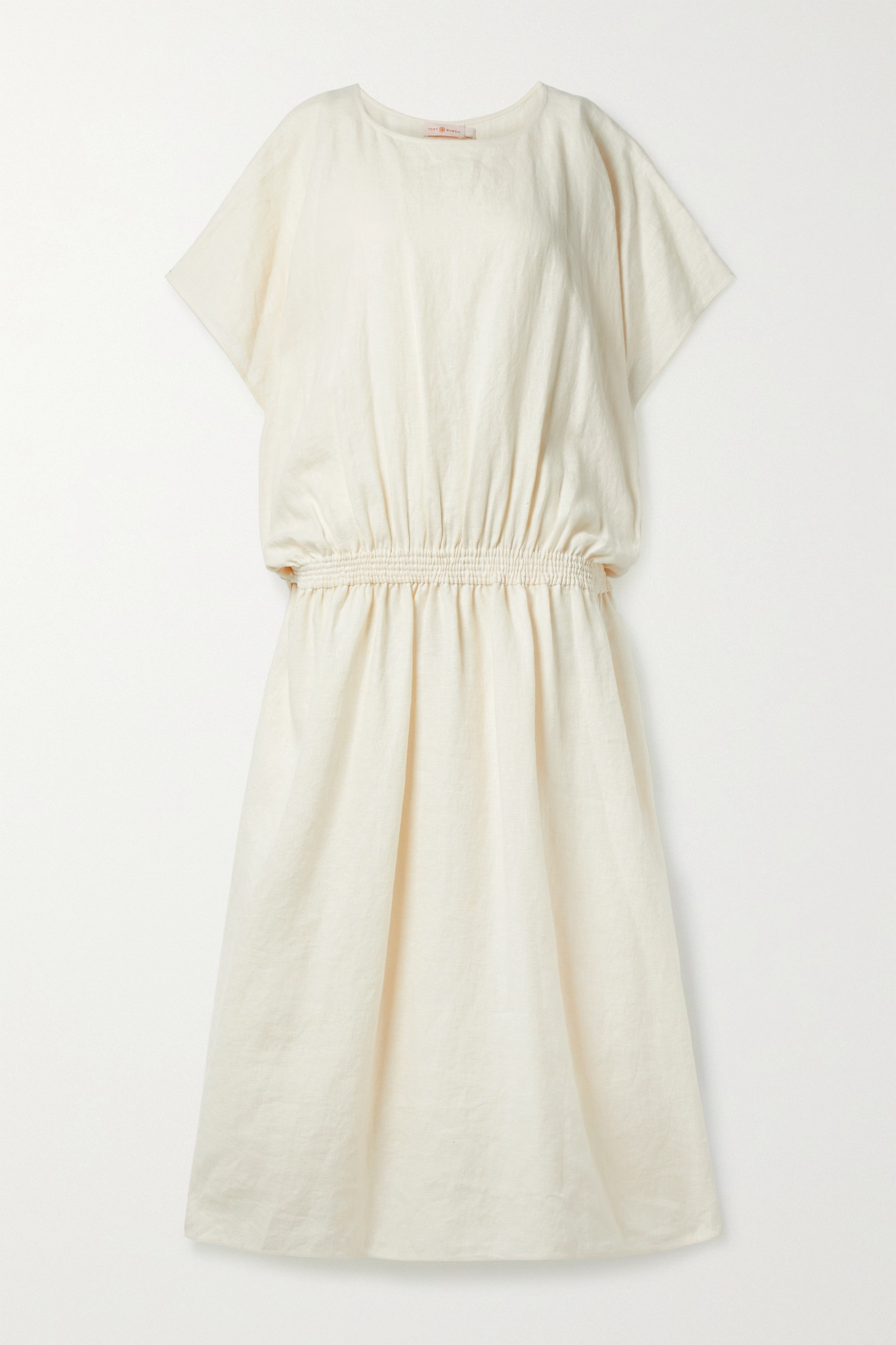 TORY BURCH - Shirred Linen Maxi Dress - Cream - medium