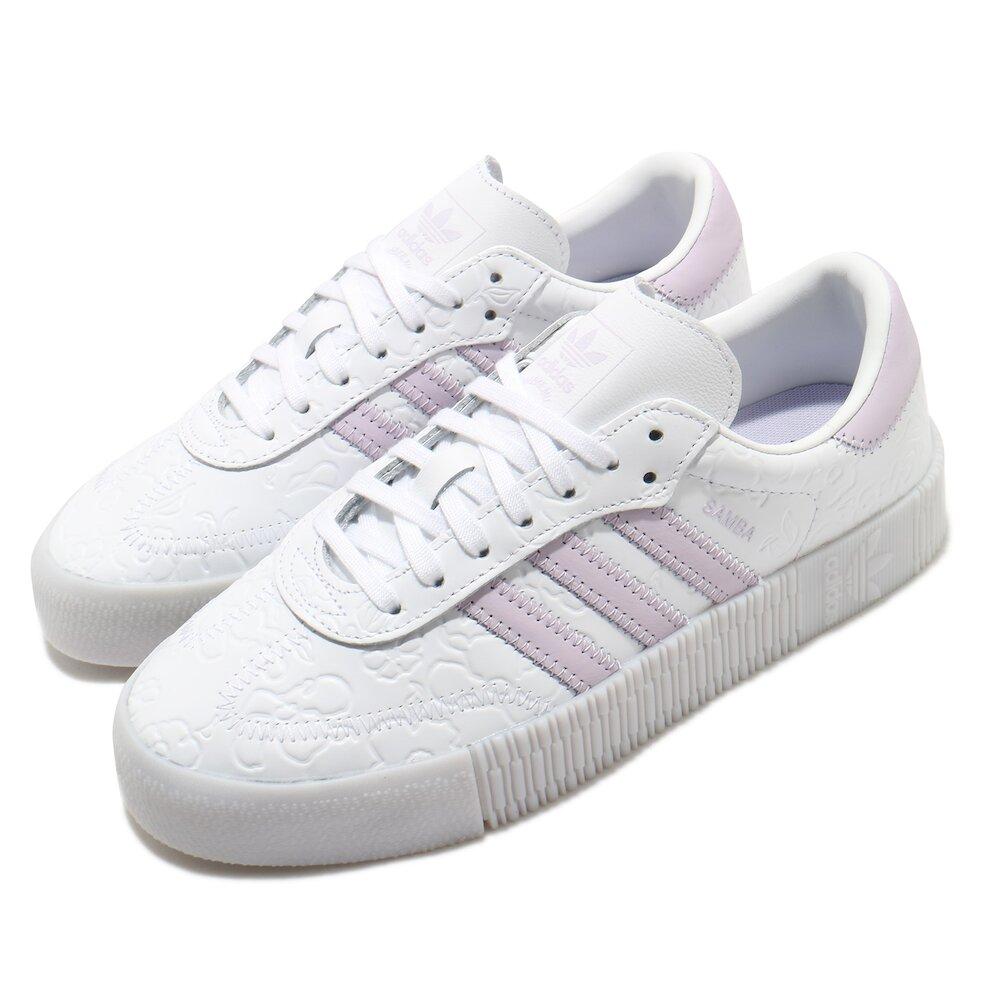 ADIDAS 休閒鞋 Sambarose 厚底 女鞋 愛迪達 三葉草 壓紋 皮革鞋面 穿搭 白 紫 [FV0770]
