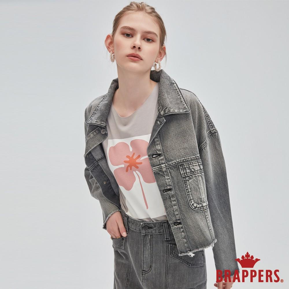 BRAPPERS 女款 寬版落肩牛仔外套-灰黑