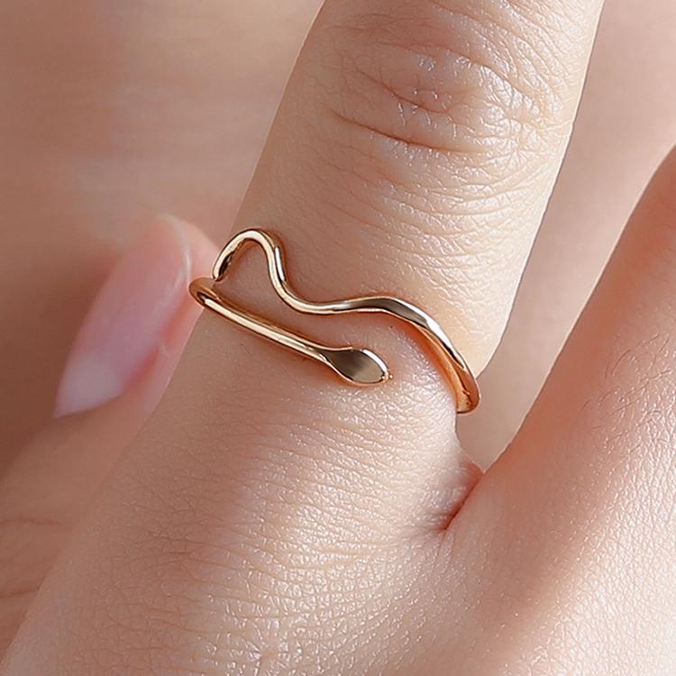 簡約個性蛇型繞指水玻紋開口戒指【RARN0010】