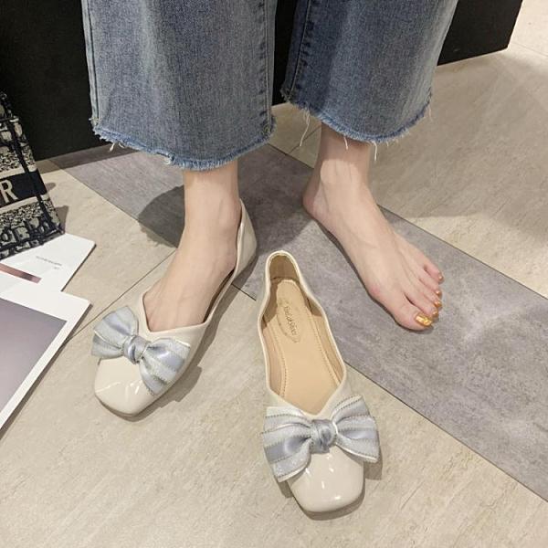 豆豆鞋 仙女風單鞋女2021年早春新款蝴蝶結奶奶鞋懶人一腳蹬豆豆鞋工作鞋 童趣屋