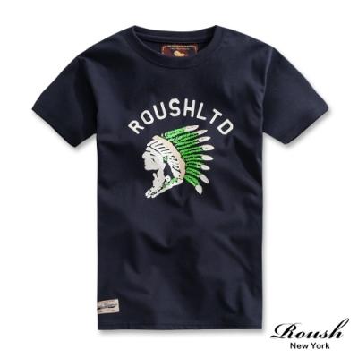 Roush 美式彩繪印地安短TEE(3色)