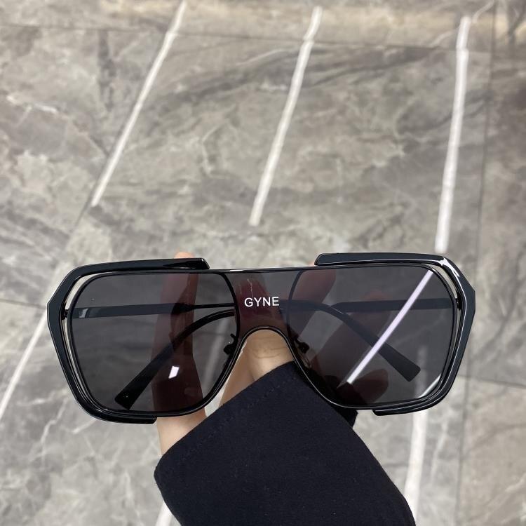 太陽眼鏡 超酷不規則方框一體大框太陽鏡蹦迪眼鏡素顏網紅街拍墨鏡女圓臉潮 果果輕時尚