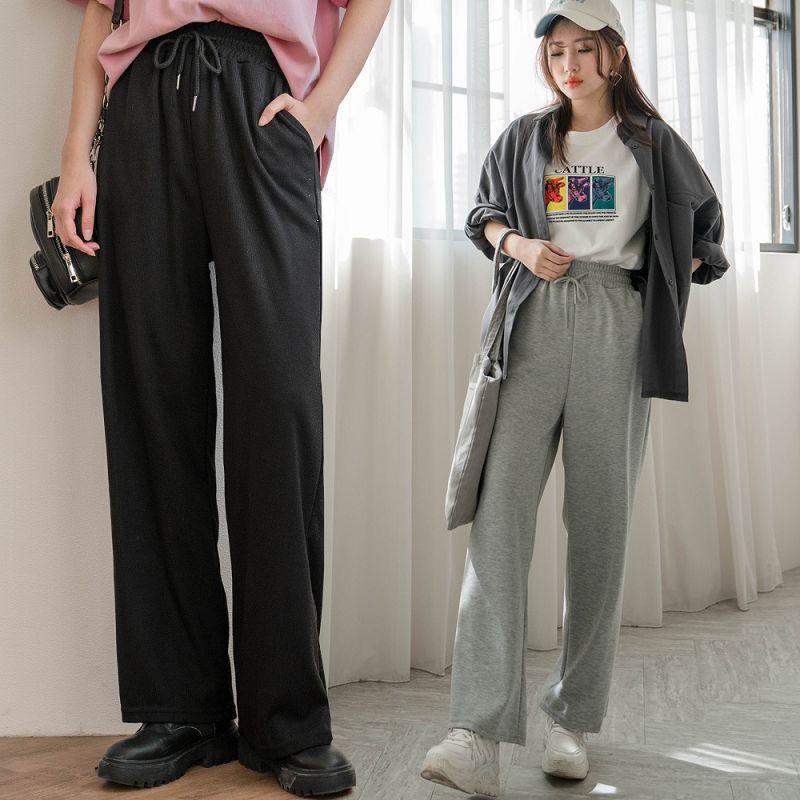 ★88折★顯腿長!鬆緊腰雙口袋棉質寬褲(共2色)0302 預購【NJ0091】