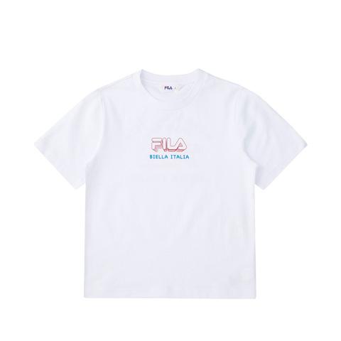 FILA KIDS 圓領上衣-白 1TEV-4503-WT