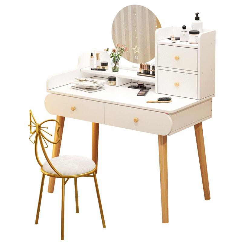 梳妝台臥室現代簡約小型化妝台北歐輕奢收納櫃一體桌子