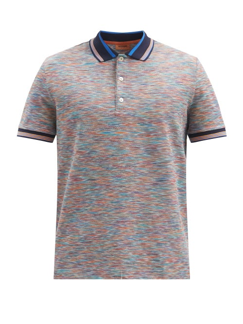 Missoni - Space-dyed Striped Cotton-jersey Polo Shirt - Mens - Multi