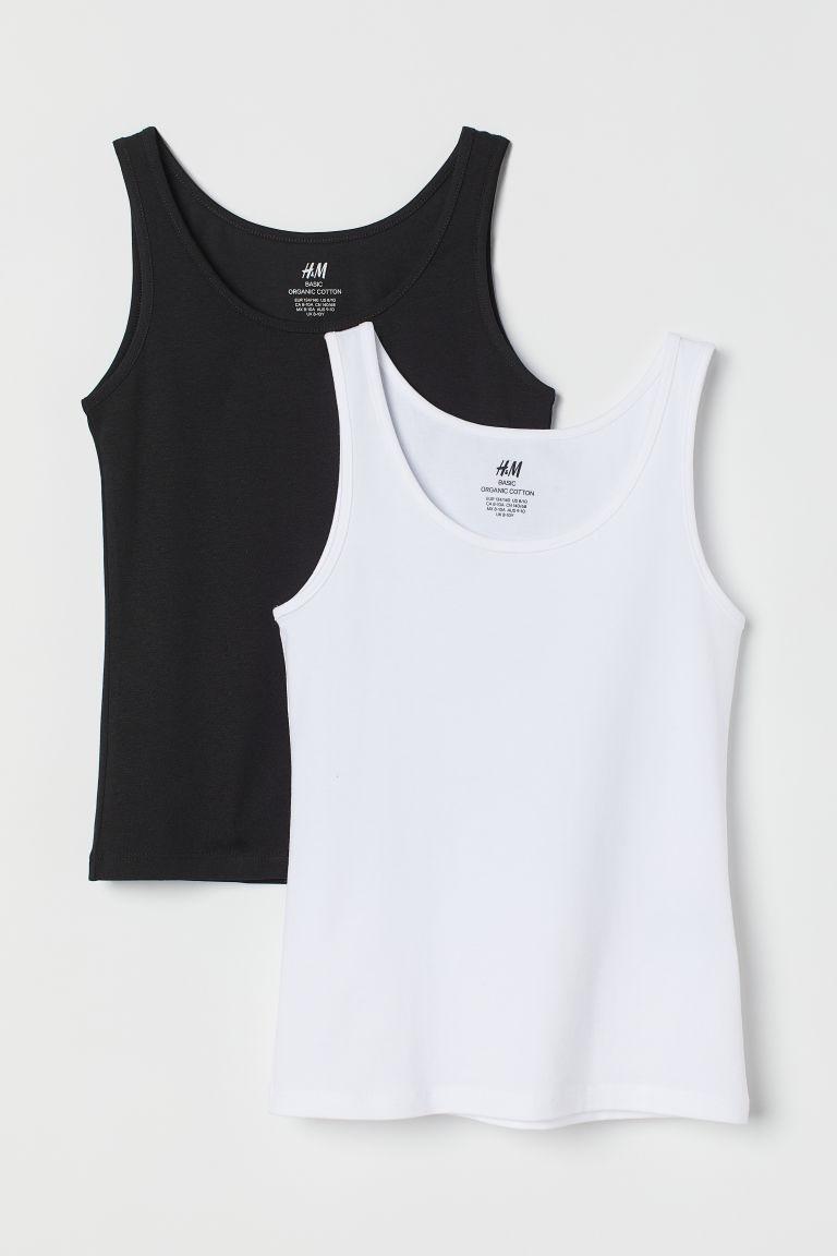 H & M - 2件入背心上衣 - 白色