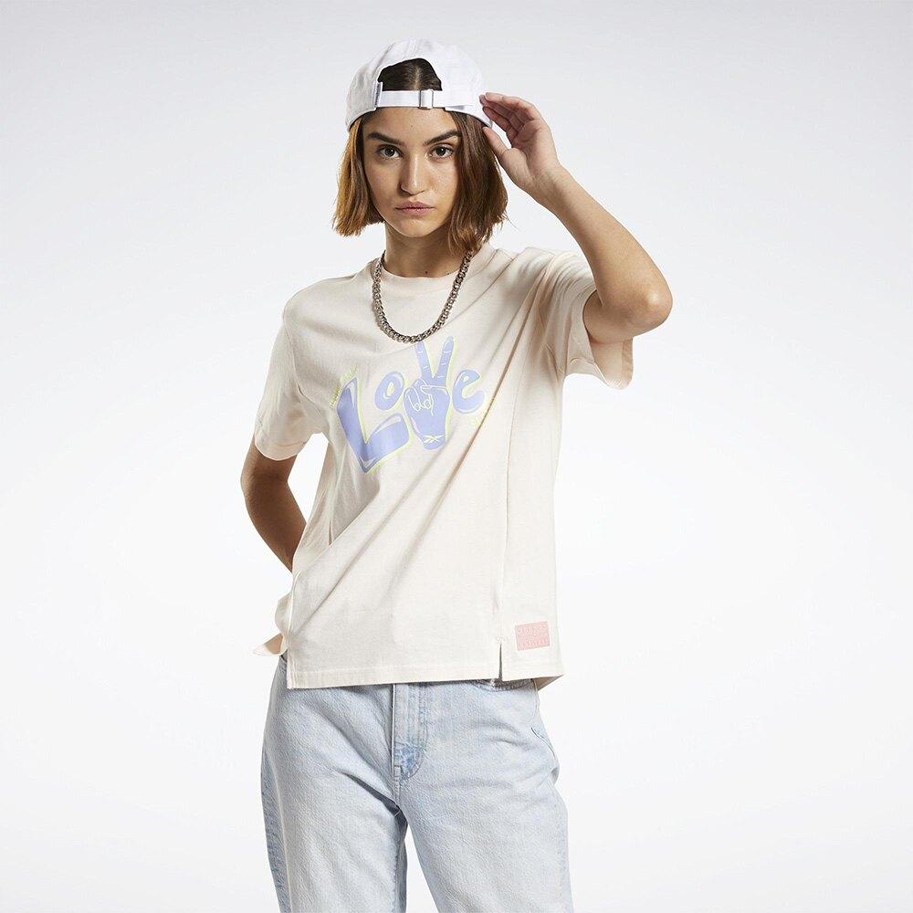Reebok CL GRAPHICS SS 女裝 短袖 T恤 LOVE 前短後長 開衩 米白橘【運動世界】H23187
