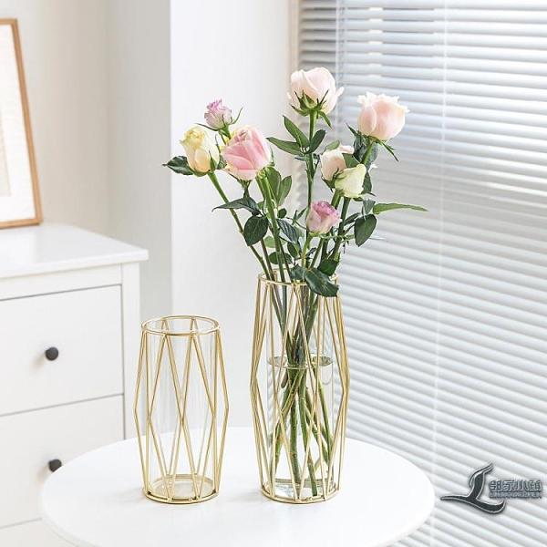 輕奢餐桌透明鐵藝金屬玻璃金色小花瓶客廳插花擺件【邻家小鎮】