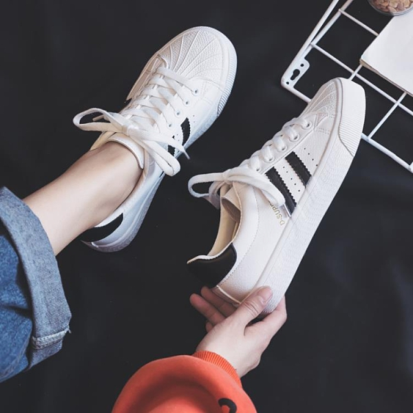 貝殼鞋 百搭學生透氣小白鞋女鞋爆款潮鞋秋款2021秋季新款白鞋貝殼板鞋子 歐歐