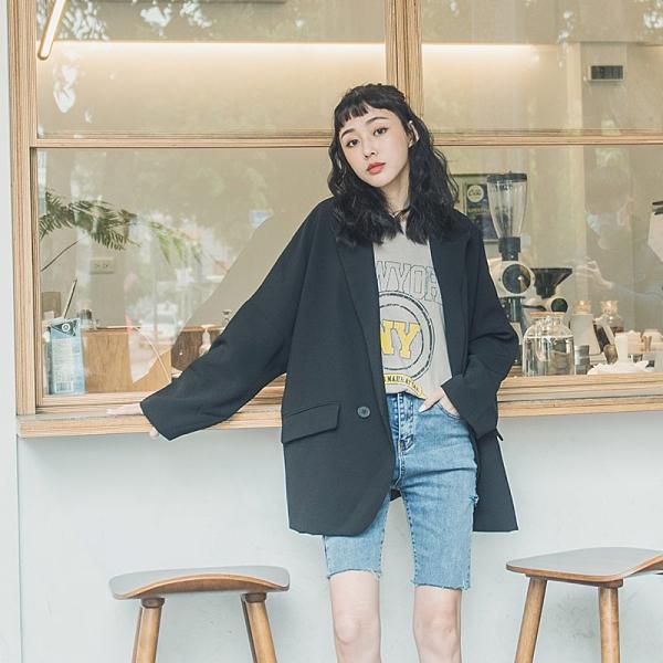 Queen Shop【02030418】雙排釦落肩寬鬆設計西裝外套 三色售 *現+預*