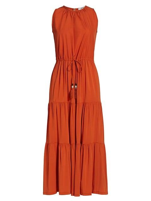 Kren Jersey Tiered Sleeveless Midi Dress