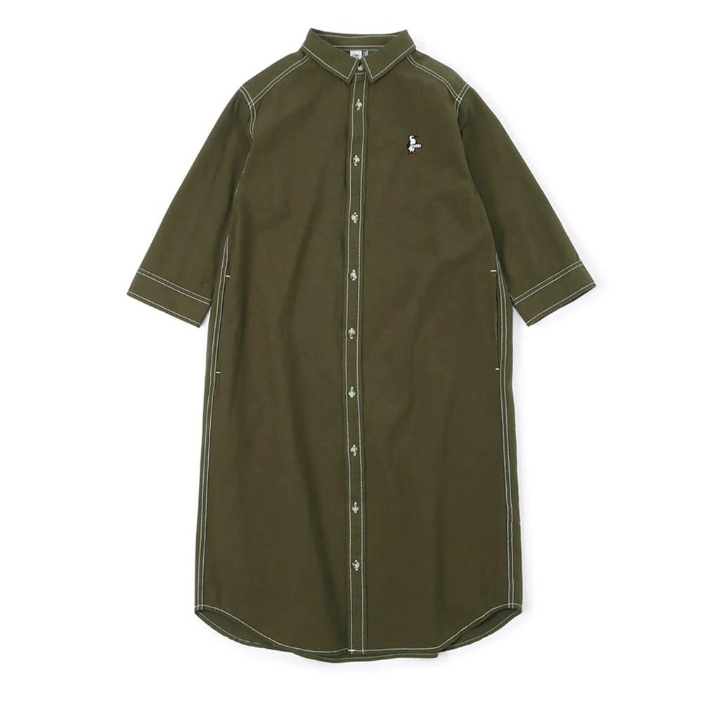 CHUMS Yarn-Dyed Chambray 3/4 Dress 女 長袖襯衫洋裝 卡其綠 CH181164M022