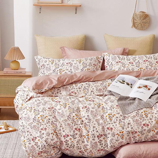 床包被套組(薄被套)-單人 / 精梳純棉三件式 / 日和花雨 台灣製