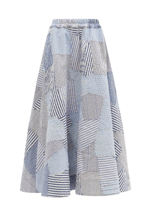 By Walid - Daisy Vintage Shirt Patchwork Cotton Skirt - Womens - Blue White