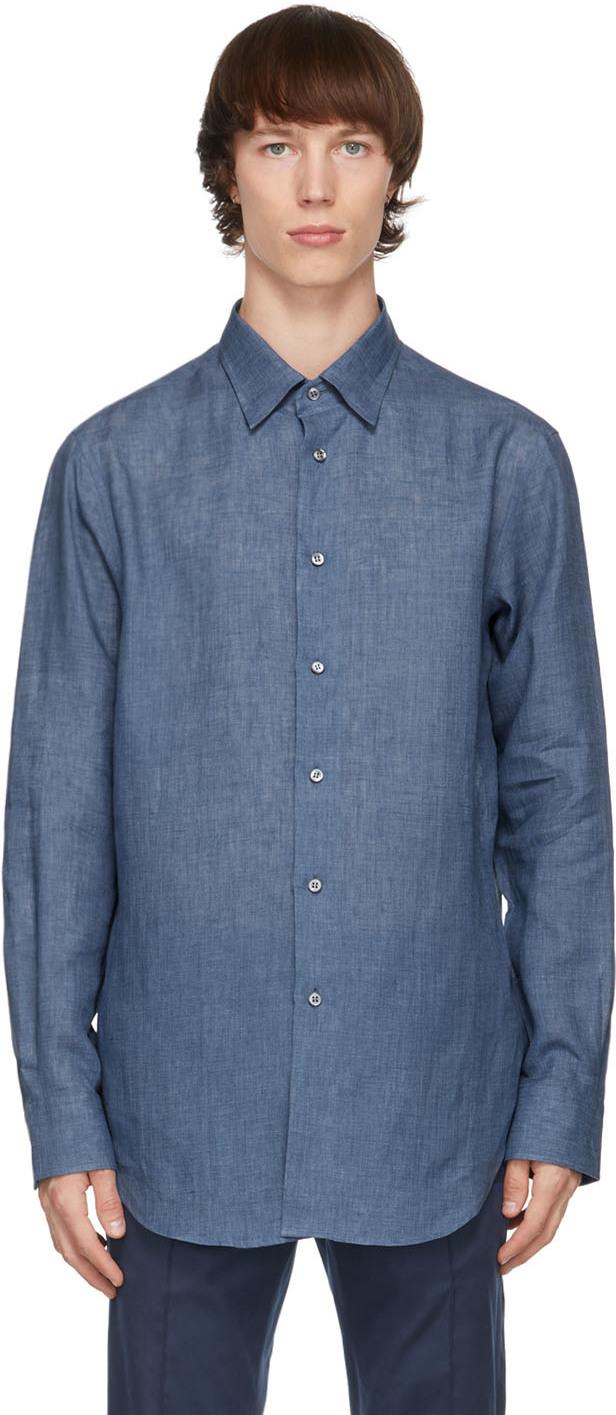 Brioni 蓝色亚麻衬衫