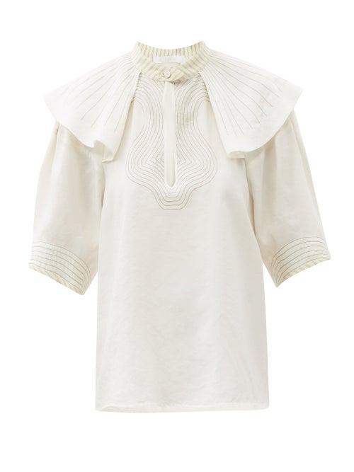 Chloé - Shoulder-ruffle Silk-blend Poplin Blouse - Womens - White